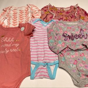 Lot Of 5 New One Piece Tops 12 Months Blush Floral